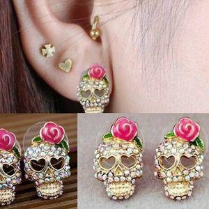 Jewelry - Sugar Skull Stud Earrings AB Rhinestones